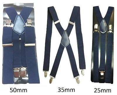 Navy Blue Mens Ladies BRACES ELASTIC WIDE Durable Trouser 25mm 35mm 50mm Strong