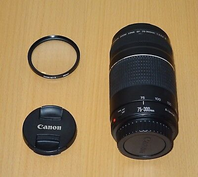 Canon EF 75-300mm F/4.0-5.6 III EF Lens + close up +2 filter