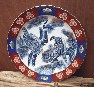 Vintage,Large oriental Porcelain Imari Charger decorated with blue birds 36.5cm