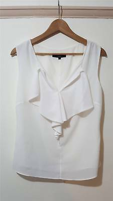 Coast White Crisp White Frill Front Top Blouse Size UK 12 Evening Work