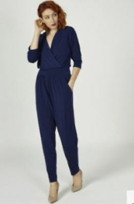 69d8c900061fcf KIM   CO Brazil Jersey V-Neck 3 4 Sleeve Jumpsuit French Navy Size L ...