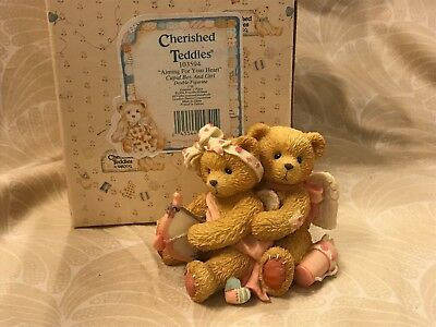 Enesco Cherished Teddies Aiming For Your Heart #103594 with Box