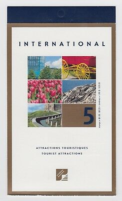 CANADA BOOKLET BK244b 5 x $1.05 TOURISTS ATTRACTIONS, OPEN COVER WITH TI
