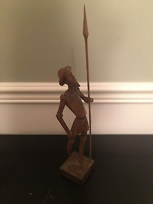 Vintage Don Quixote Wood Figurine Made In Spain