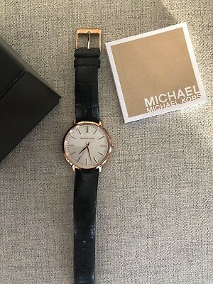 e0db22b50d Michael Kors Watches Womens Rose Gold-Tone and Black Leather Pyper Watch