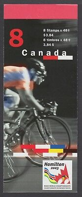 CANADA BOOKLET BK275a 8 x 48c ROAD CYCLING, GLUED FLAP