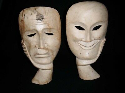 """Pair of Hand Carved Wooden Happy & Sad Standalone Holdable Masks Faces H 9"""""""