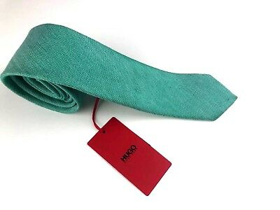 "New Hugo Boss Green Silk & Linen Skinny 2.5"" Tie W/ White Dots, Made in Italy"