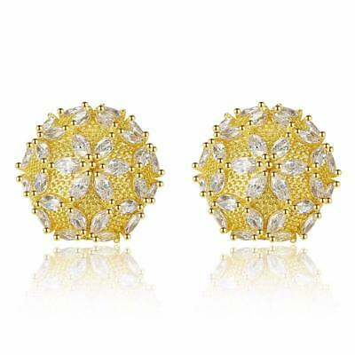 Silver Tone or Gold Plated Sparkling CZ Floral Stud Half Ball Dome Stud Earrings