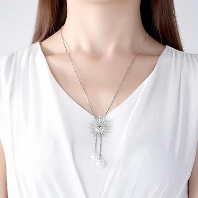 Shiny Silver Tone Sparkling CZ Starburst White Pearl Long Adjustable Necklace
