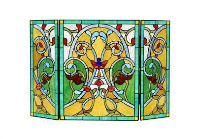 MYRTLE Tiffany-style Victorian 3pcs Folding Fireplace Screen 44x28 [ID 2230121]
