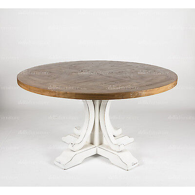 Ronde Parquetry Elm Timber French Provincial Pedestal Round Dining Table 150 cm