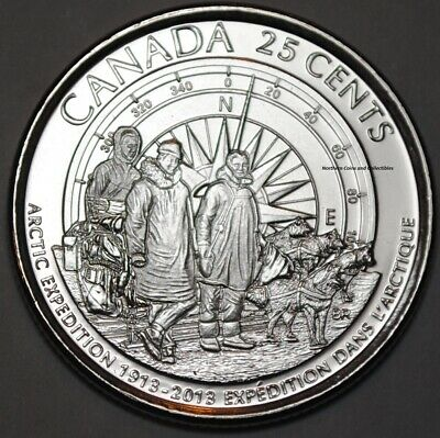 Canada 2013 Arctic Expedition Frosted 25 Cents from Roll BU Canadian Quarter