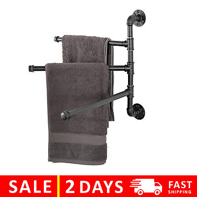 MyGift Wall-Mounted Industrial Pipe 3-Arm Swivel Towel Bar Rack, Black