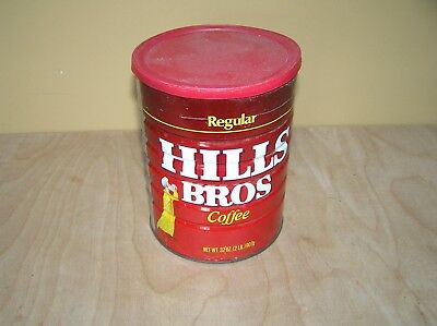 Vintage Hills Bros Coffee Tin Can 2 lb. Size (32 Ounces) Regular Grind with lid.