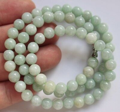 Genuine JADE Certified Natural Type A Fine Light Green Jadeite Necklace #N273