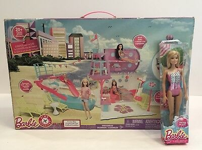 NEW Barbie Pink Passport LOT 20+ Piece Cruise Ship Playset + FREE Water Barbie