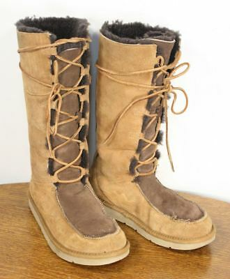 e5c170bbd90 TALL UGG WHITLEY Moccasin Boots. Sheepskin Suede Leather Lace Size 9.  Stylish