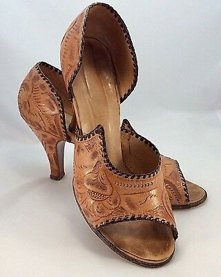 Vintage Western Hand-tooled Stamped Braided women's pumps shoes size 6?