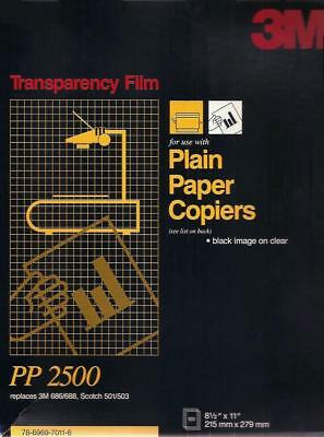 3M Transparency Film for Plain Paper Copiers PP2500, 100 Sheets - New / Unsealed