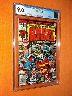 """GHOST RIDER #21 CGC 9.0 {Gladiator app.} {""""Death"""" of Eel} {Jack Kirby cover}"""