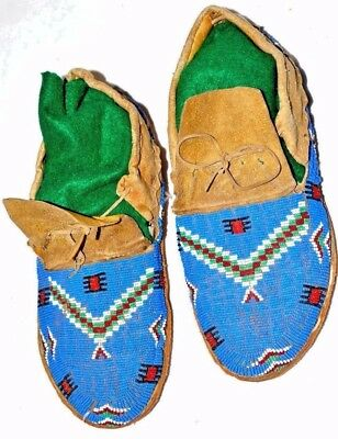 Antique Native American Indian Sioux Fully Beaded Moccasins, Rawhide Soles