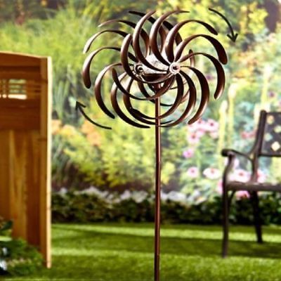 Double Spiral Wind Spinner Solar Light Garden Yard Art Outdoor Lawn Decor Metal