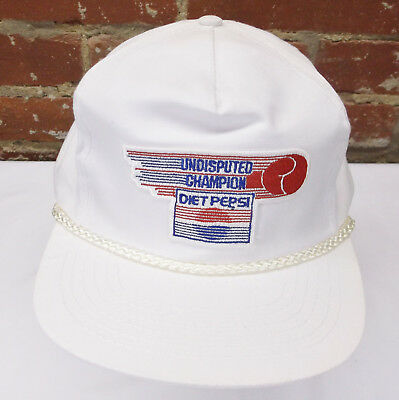 Vintage Diet Pepsi Undisputed Champion White One Size Fits All Snapback Cap Hat