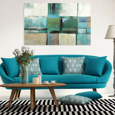 Hand Painted Modern Oil Painting Canvas Wall Art Home Decor Framed Color Block