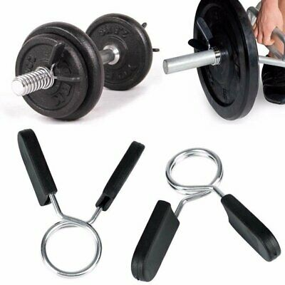 Standard Barbell Clamp Spring Collar Clips Gym Weight Dumbbell Lock Accessories