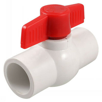 DN20 25 32 40 50 63 75 Red Handle Double Ports White PVC Pipe Connect Ball Valve