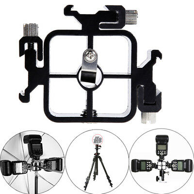 Triple Hot Shoe Mount Adapter Flash Light Stand Umbrella Holder Bracket Black_S