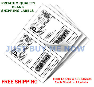 1000 Labels Half Sheet Self Adhesive Shipping Labels for Laser & Inkjet Printers