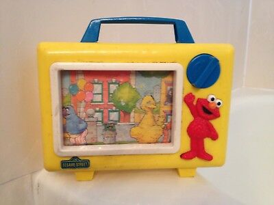 🔴 Rare Vintage Sesame Street Yellow Tyco Scrolling Musical Tv  For Parts/repair