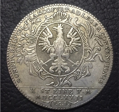 1772 Free imperial city of Frankfurt 1 Conventionsthaler German Silver Plated