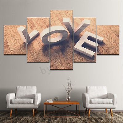 Unframed 5PCS LOVE Modern Art Canvas Painting Picture Print Home Wall Decor New
