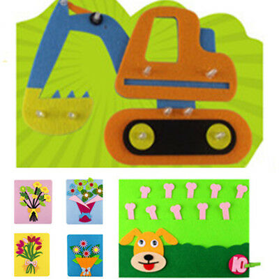 1pc Kids Toddlers Non-woven Cartoon Number Flower Educational Toys DIY Preschool