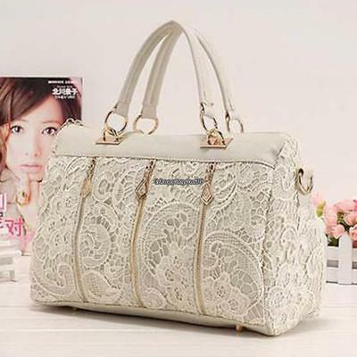 New Fashion Women Floral Lace Shoulder Bag Satchel Hobos Handbag Tote EH7E