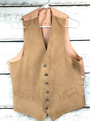 Vintage Tan Vest Suede Leather Slim Fit Adult Small or Youth Large Western