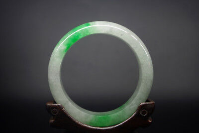 Vintage Chinese old antique green jadeite carved jade bracelet bangle YQ-328