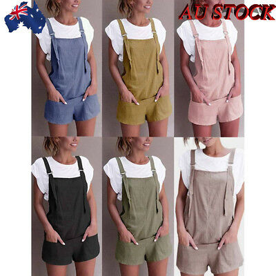 Women Cotton Solid Color High-waisted Overalls Short Pant Jumpsuit Casual Loose