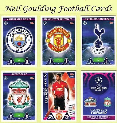 CHAMPIONS LEAGUE MATCH ATTAX 2018-2019 ☆ Football Base Cards ☆ #145 to #216