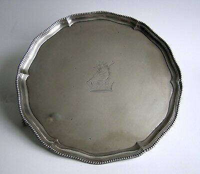 A fine George III silver salver, John Scofield, London, 1779 crested