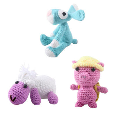 3 Sets Lovely Pig Cow Dog Crochet Animal Kit for Kids Learn to Knit Crafts