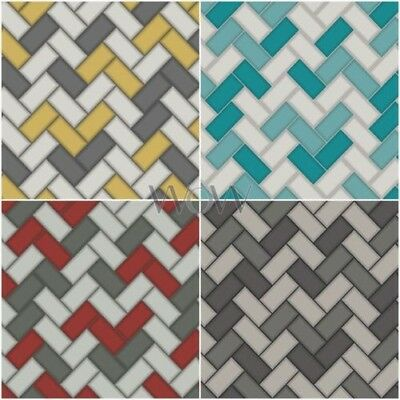 Holden Tiling On A Roll Chevron Tile Glitter Textured Wallpaper Kitchen Bathroom