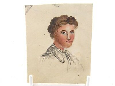 Antique 19th century English School watercolour painting portrait of a lady