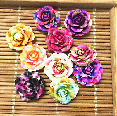 NEW 20pcs MIX Resin Rose Flower flatback Appliques For phone/wedding/crafts ~~~