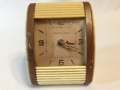 Westclox Vtg 1950s Travel Alarm Clock Hand Wind Tin and Plastic Roll Up Cover!