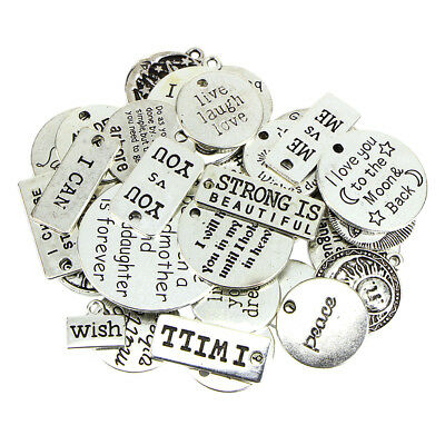 31Pc Antique Silver Charms Pendant Inspiration Quotes Words DIY Jewelry Gift