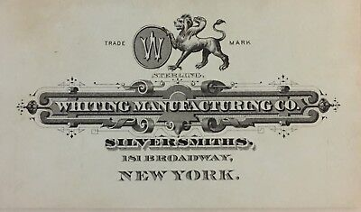 Whiting Manufacturing Co SILVERSMITHS  NY Trade Card